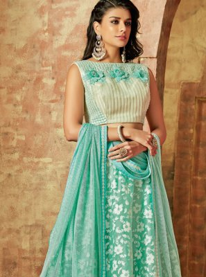 Sea Green Embroidered Tissue Lehenga Choli
