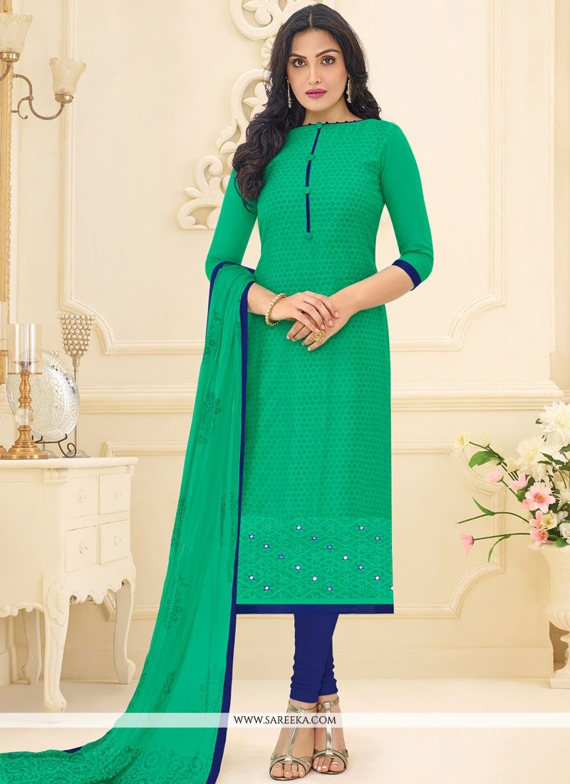 Sea Green Embroidered Work Chanderi Churidar Suit