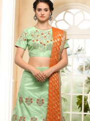 Sea Green Embroidered Work Lehenga Choli