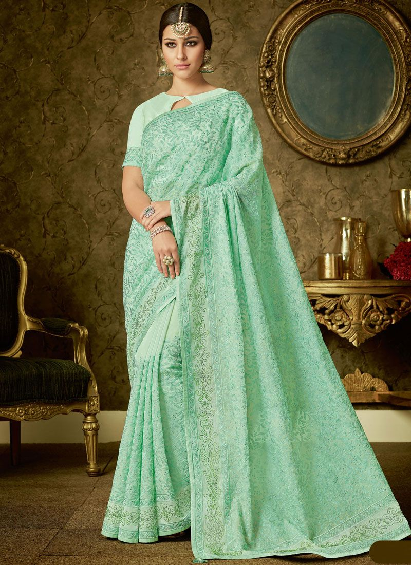 Sea Green Embroidered Work Organza Trendy Saree