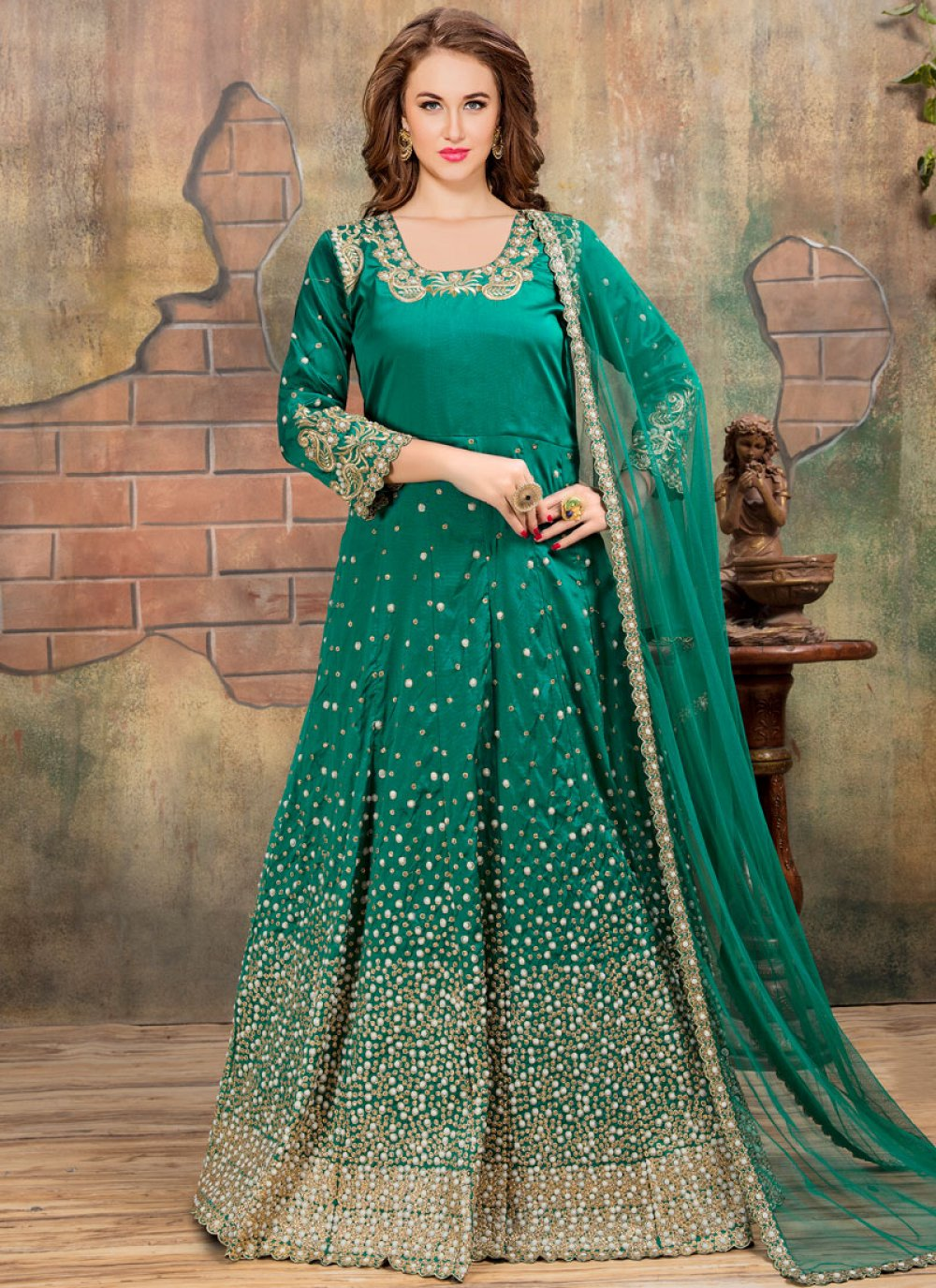 Sea Green Embroidered Work Tafeta silk Floor Length Anarkali Suit