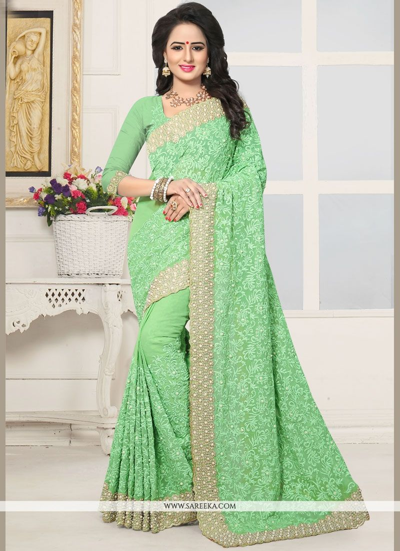 Sea Green Faux Georgette Classic Designer Saree