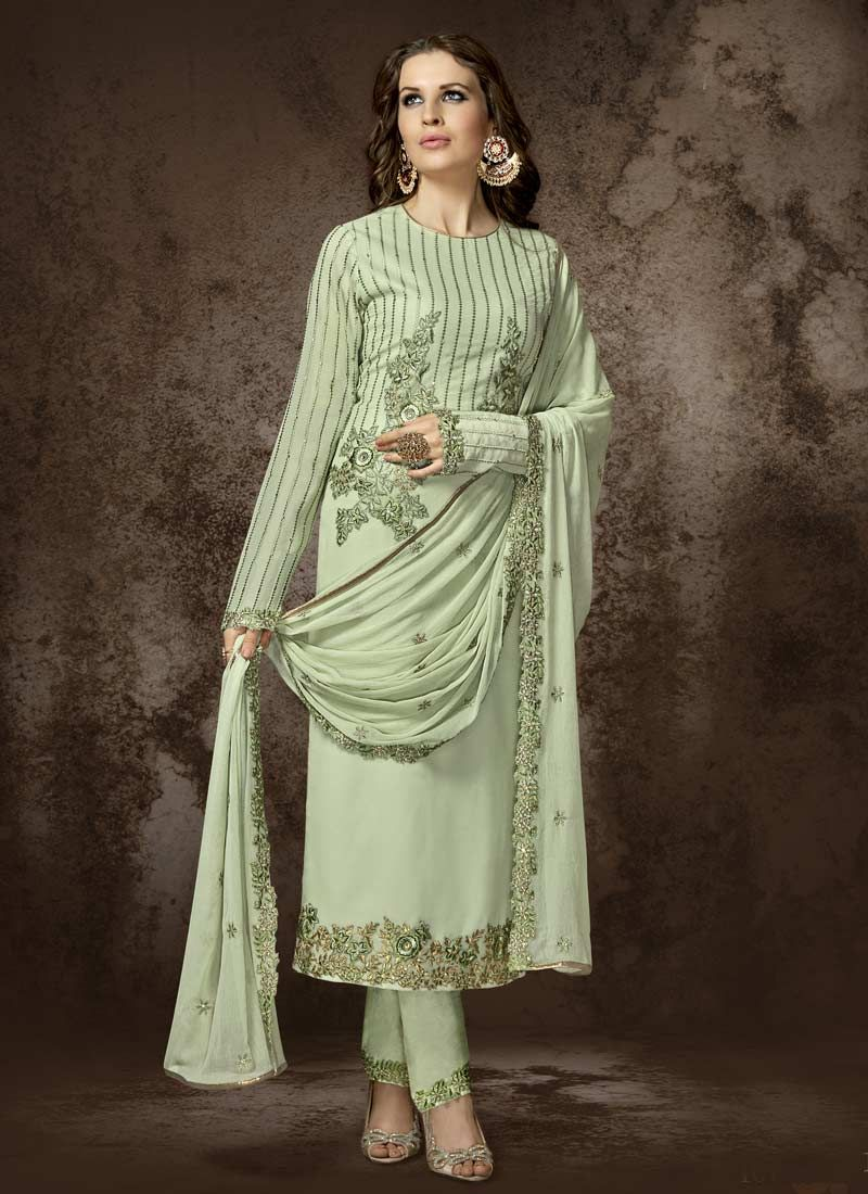 Sea Green Faux Georgette Designer Pakistani Suit