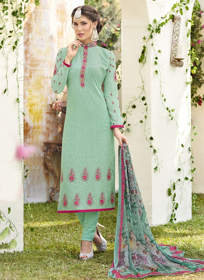 Sea Green Faux Georgette Designer Straight Suit