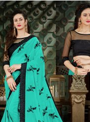 Sea Green Georgette Casual Saree