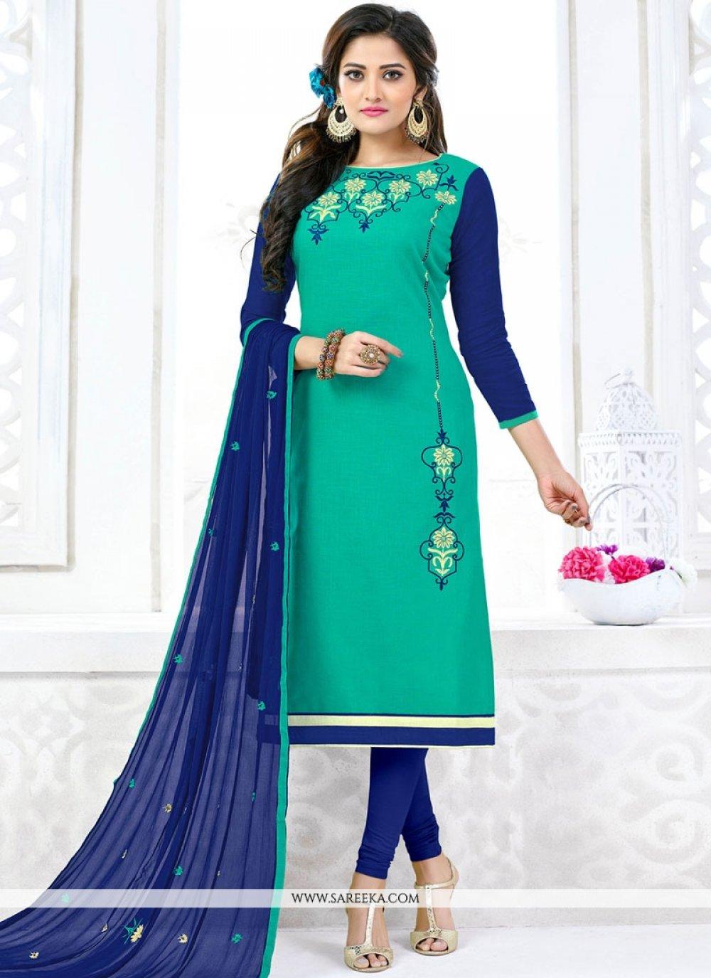 Sea Green Lace Work Churidar Suit