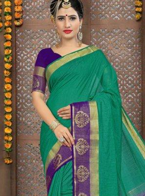 Sea Green Linen Classic Saree