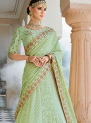 Sea Green Patch Border Art Silk Lehenga Choli