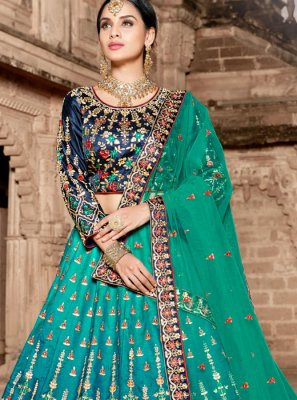 Sea Green Patch Border Wedding Lehenga Choli