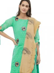 Sea Green Print Chanderi Churidar Suit