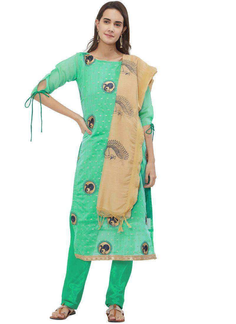 Sea Green Print Chanderi Churidar Suit