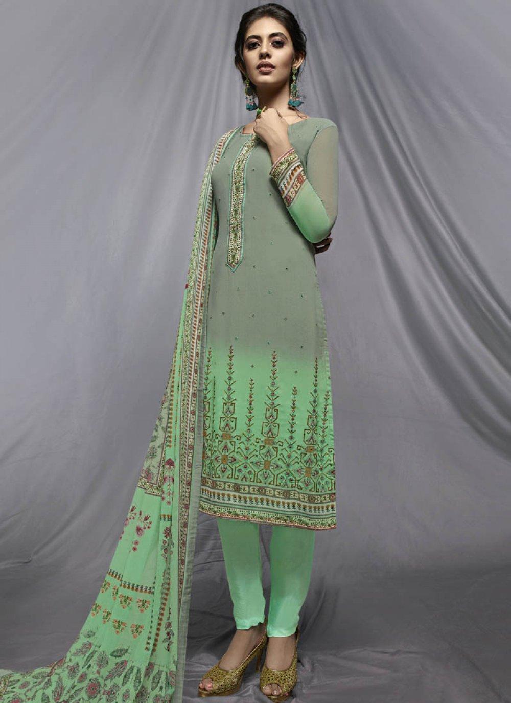 Sea Green Print Churidar Designer Suit