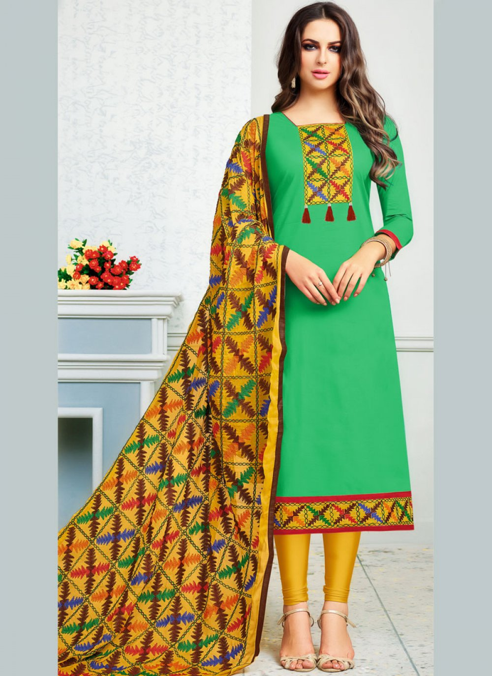 Sea Green Print Cotton   Churidar Suit