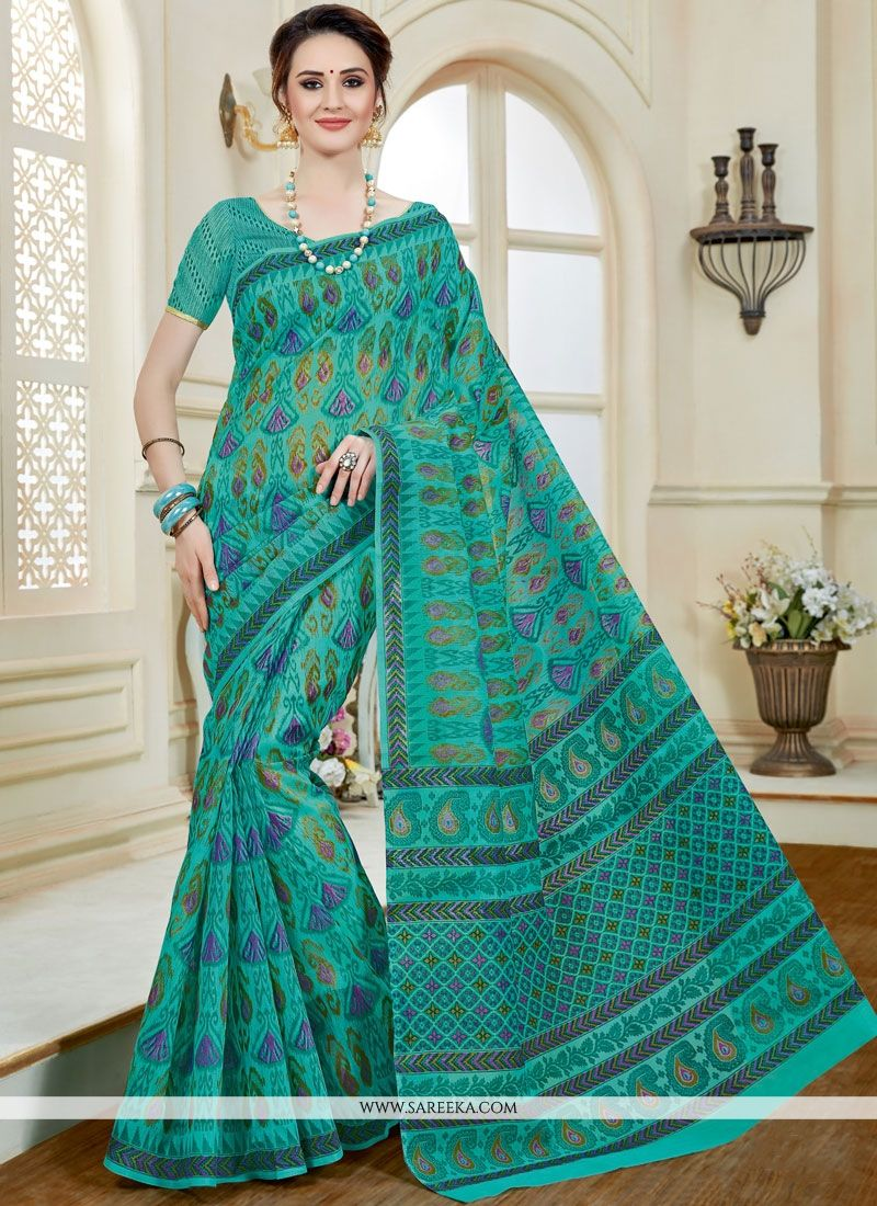 Sea Green Print Work Cotton   Casual Saree