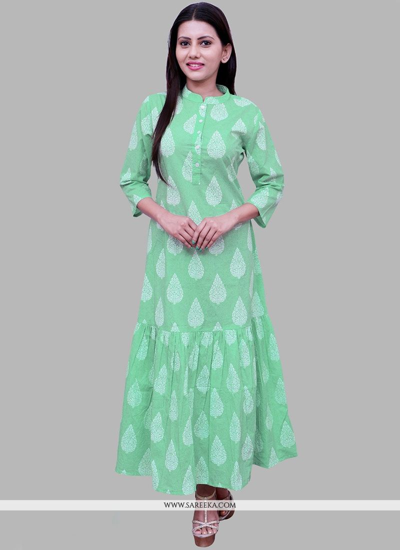 Sea Green Print Work Cotton   Party Wear Kurti