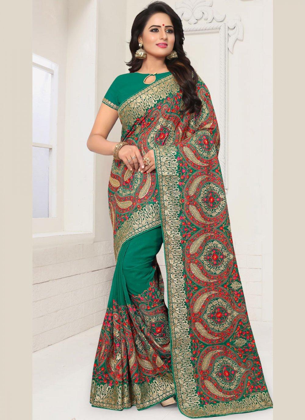 Sea Green Resham Traditional Designer Saree