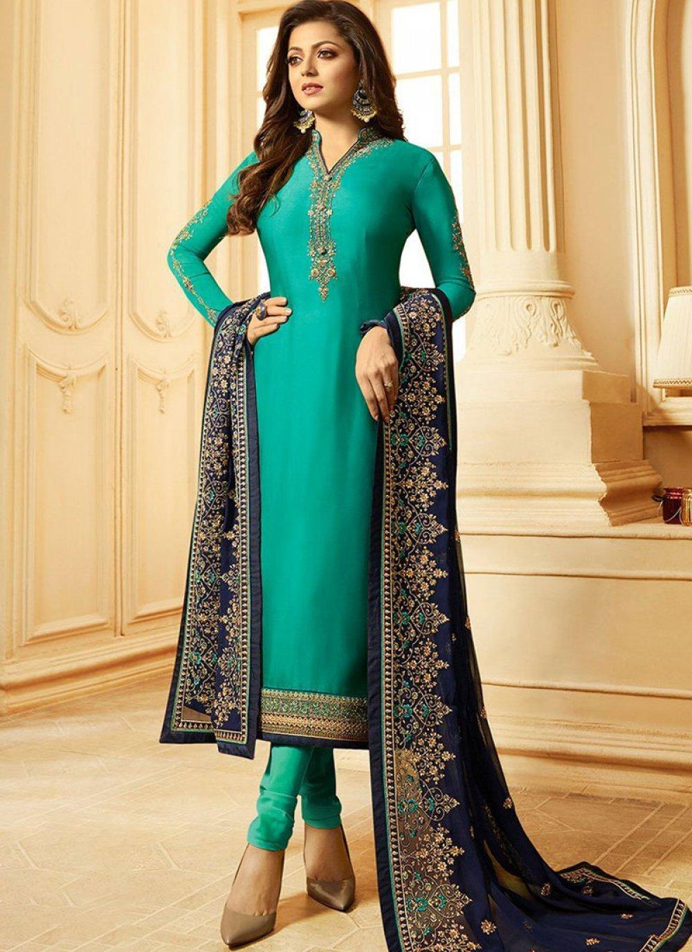 Sea Green Satin Party Churidar Designer Suit