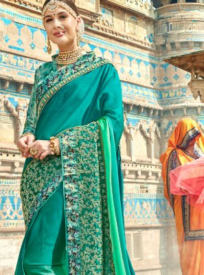 Sea Green Shaded Saree