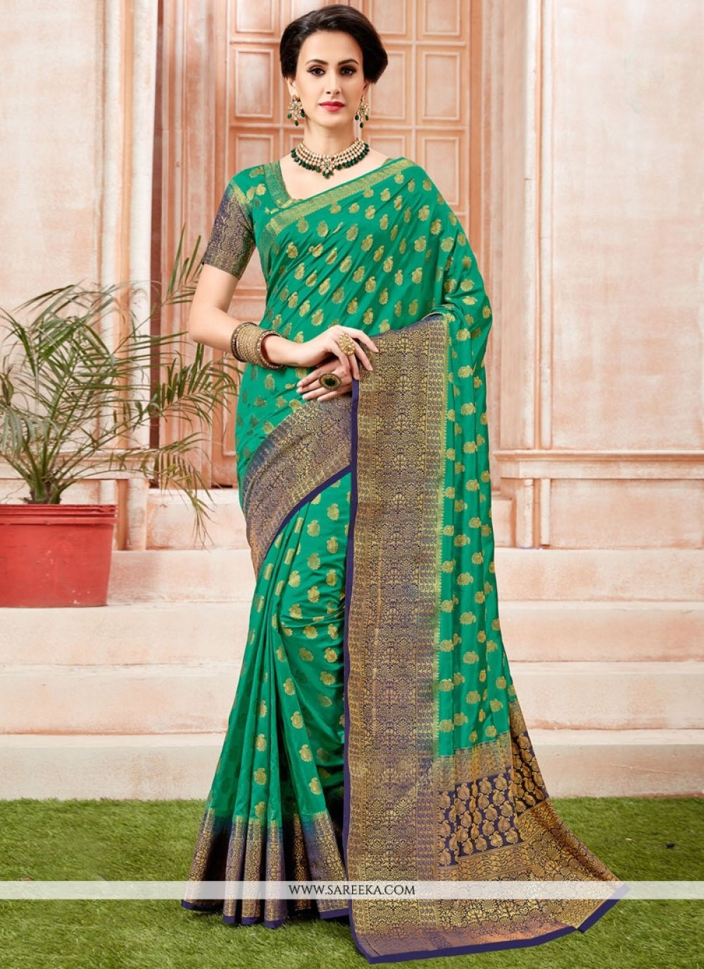 Sea Green Tussar Silk Designer Traditional Saree