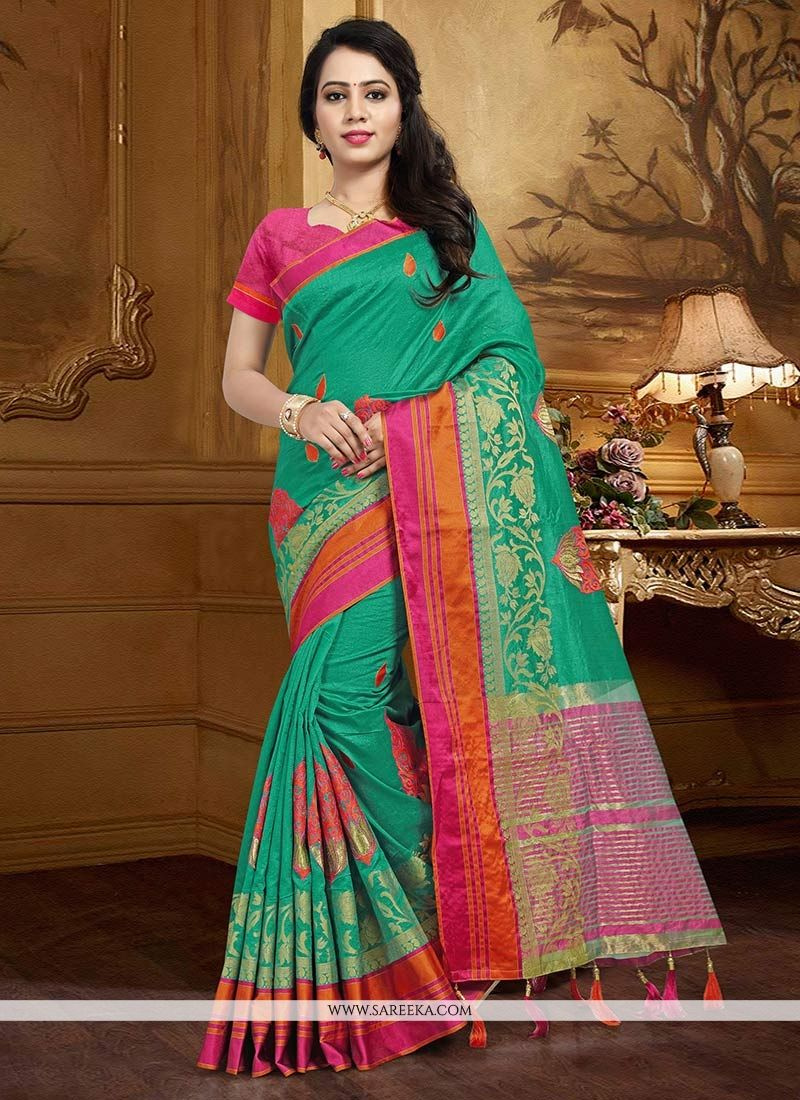 Sea Green Weaving Work Art Silk Traditional Designer Saree