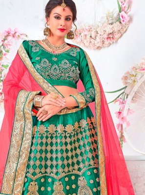 Sea Green Wedding Net Lehenga Choli
