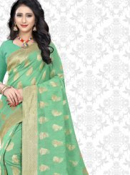 Sea Green Woven Net Classic Designer Saree