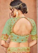 Sea Green Zari Work Art Silk Lehenga Choli