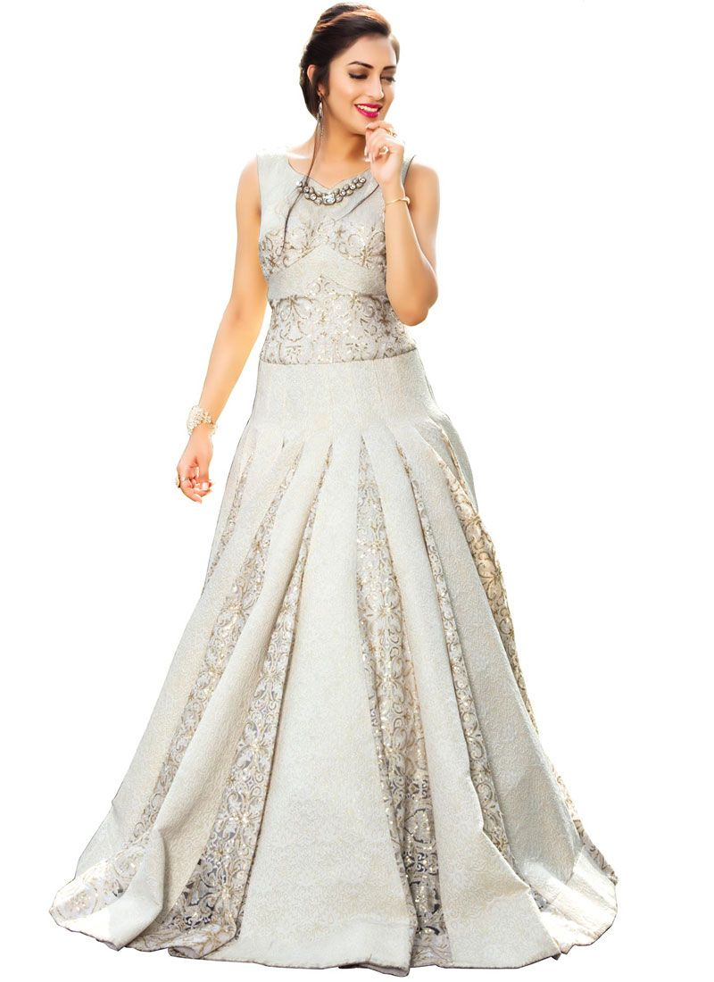 Sequins Work Fancy Fabric Off White Readymade Gown