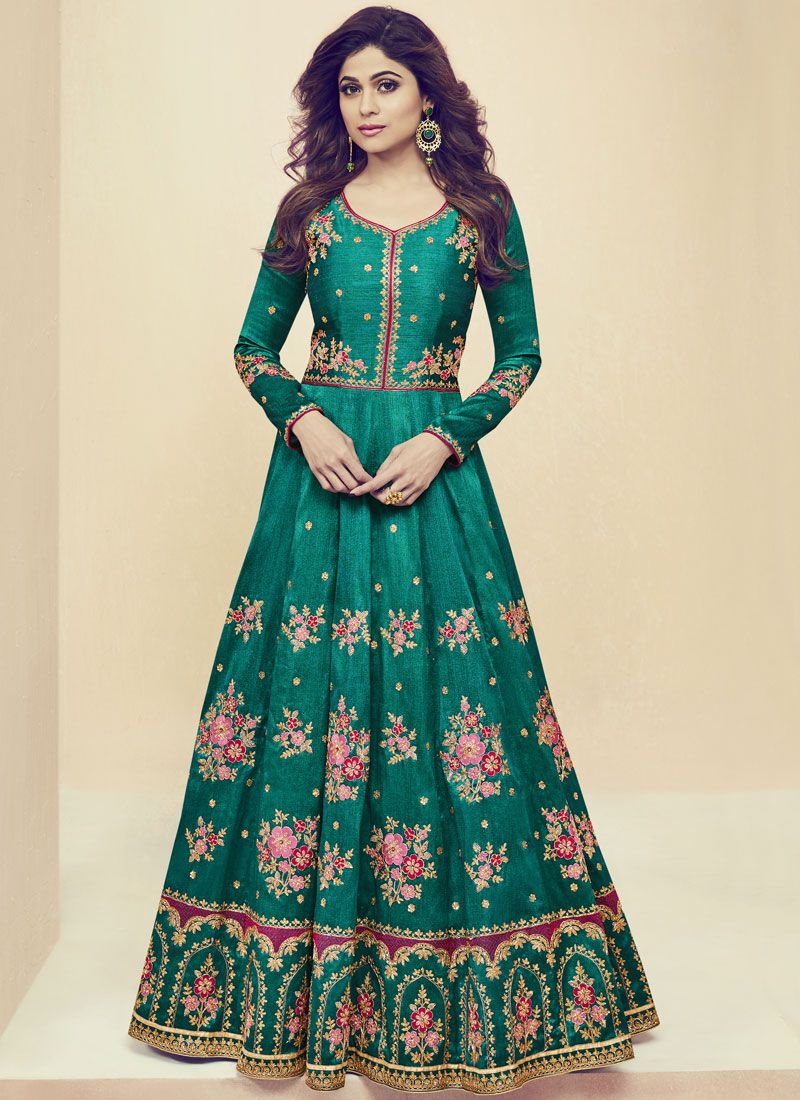 Shamita Shetty Art Silk Embroidered Work Floor Length Anarkali Suit