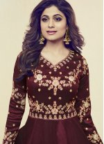 Shamita Shetty Art Silk Floor Length Anarkali Suit.