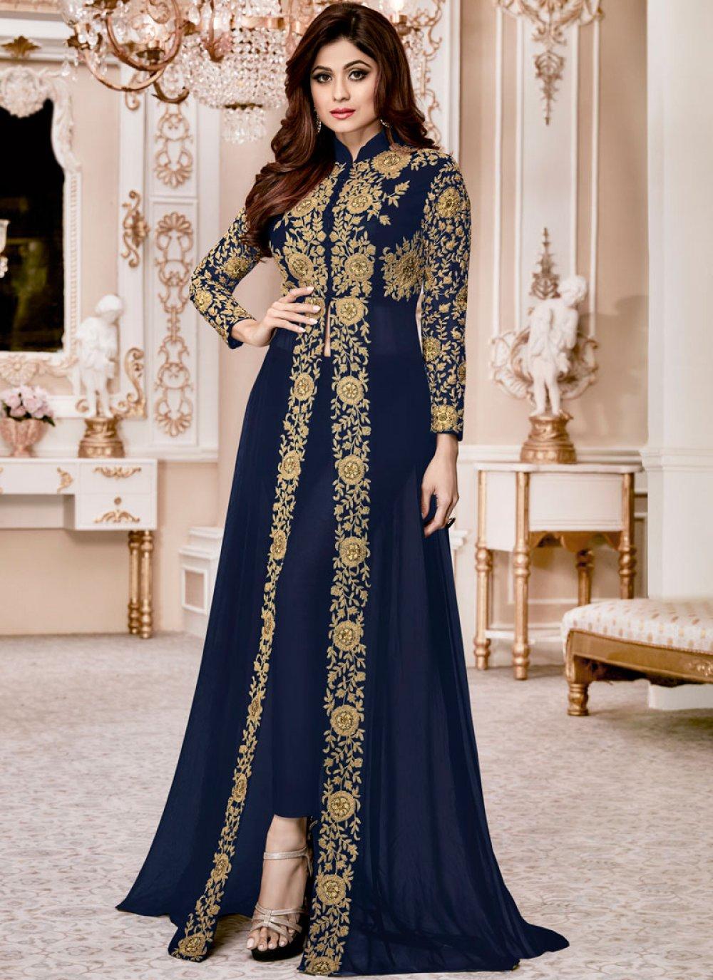 Shamita Shetty Blue Pant Style Suit
