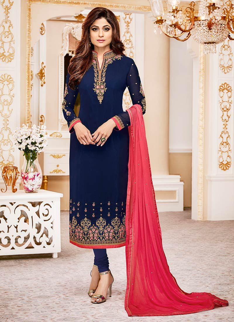 Shamita Shetty Blue Resham Work Churidar Designer Suit