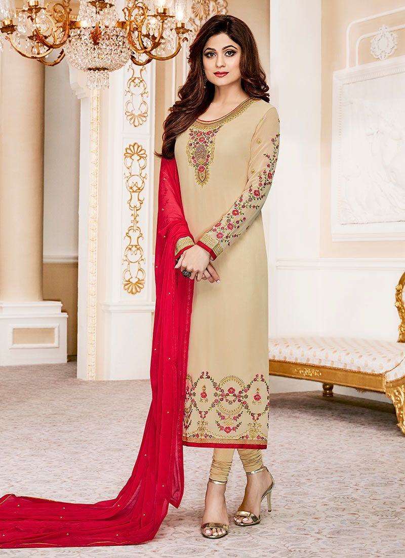 Shamita Shetty Embroidered Work Churidar Designer Suit