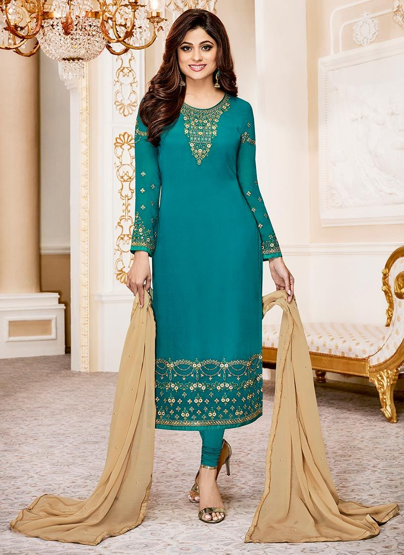 Shamita Shetty Faux Georgette Churidar Designer Suit