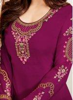 Shamita Shetty Magenta Churidar Designer Suit