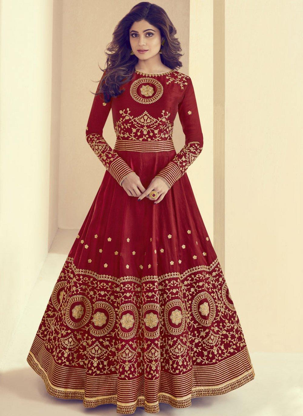 Shamita Shetty Maroon Art Silk Resham Floor Length Anarkali Suit