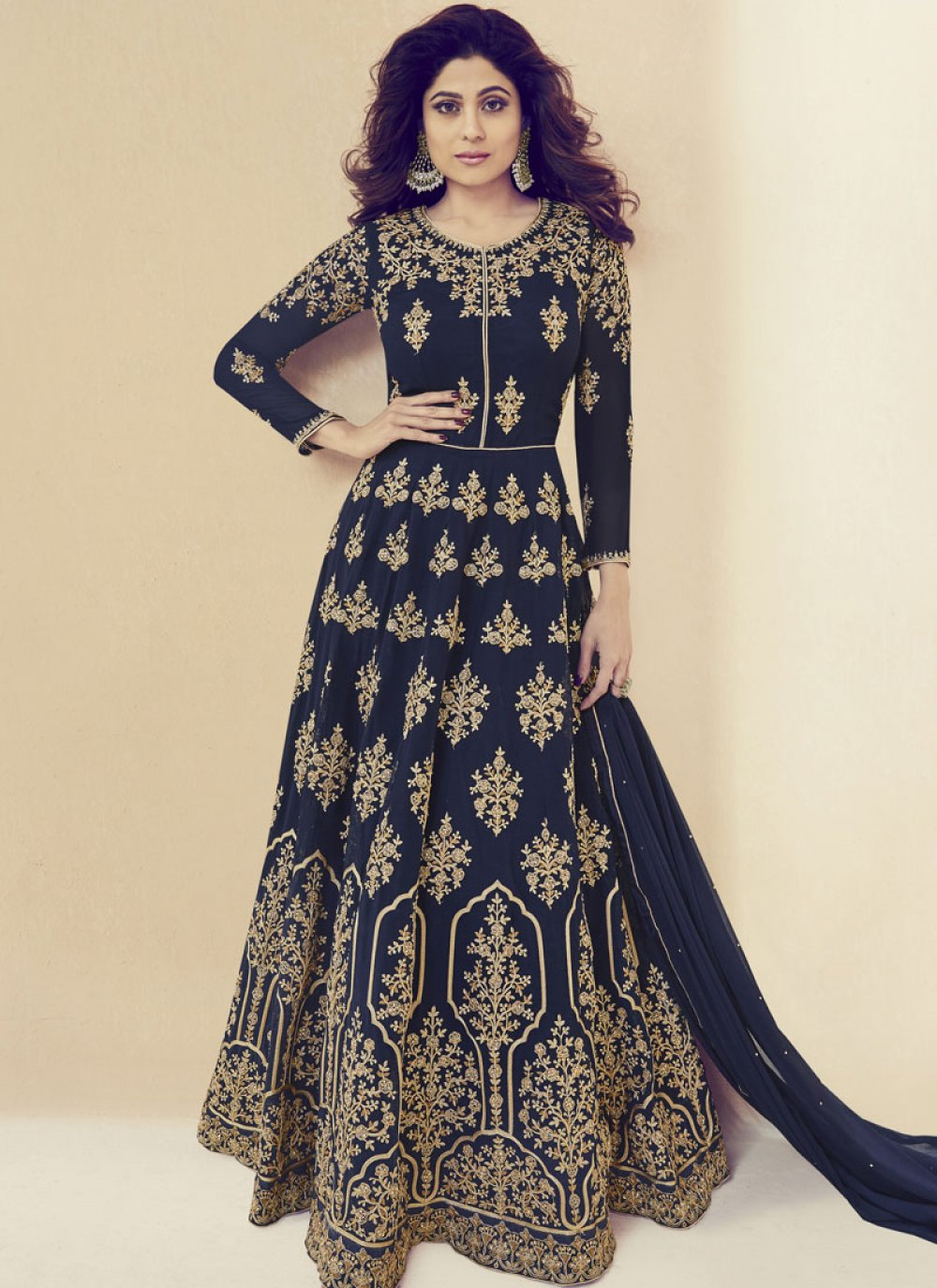 Shamita Shetty Navy Blue Floor Length Anarkali Suit