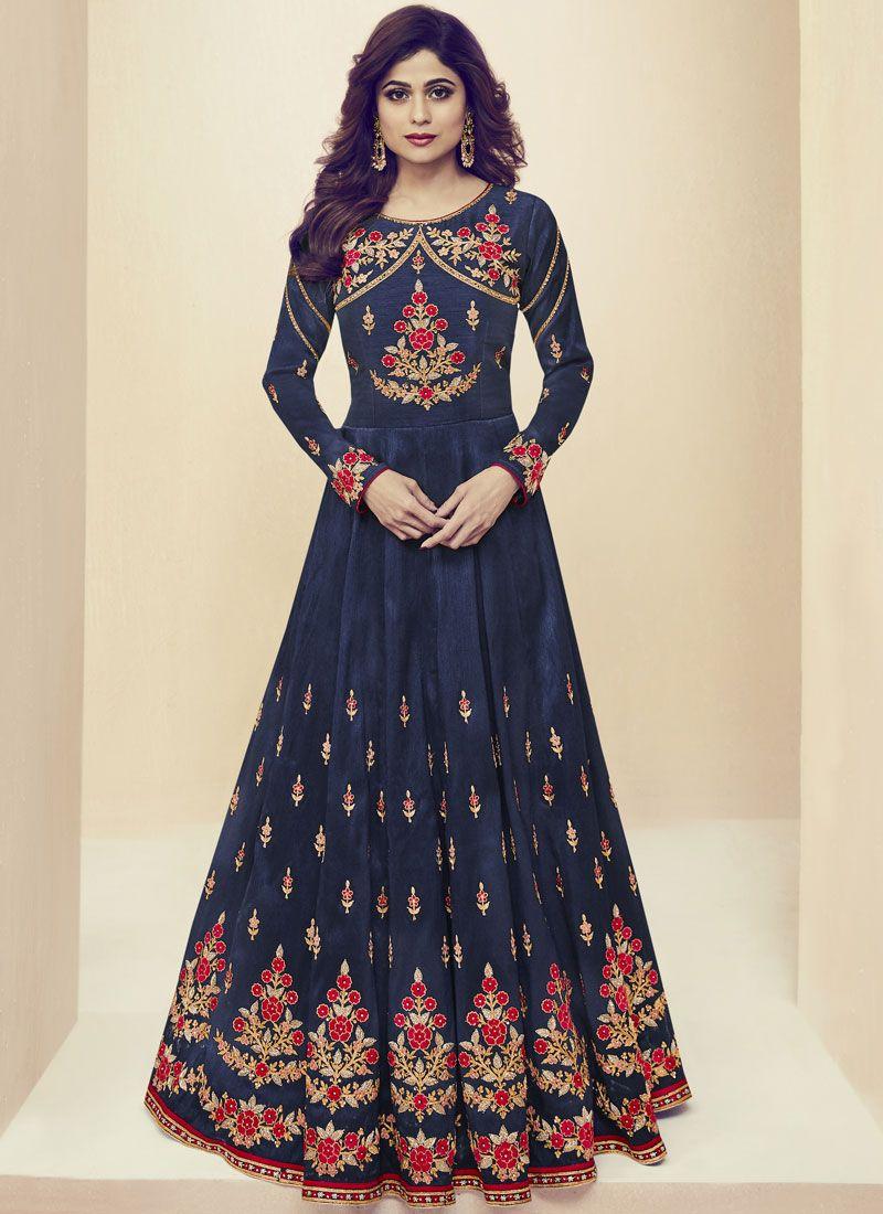 Shamita Shetty Navy Blue Floor Length Anarkali Suit