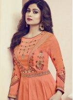 Shamita Shetty Orange Floor Length Anarkali Suit