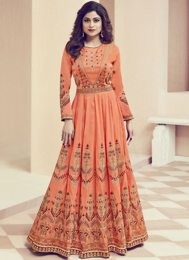 Shamita Shetty Orange Floor Length Anarkali Suit