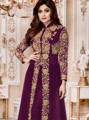 Shamita Shetty Purple Designer Suit