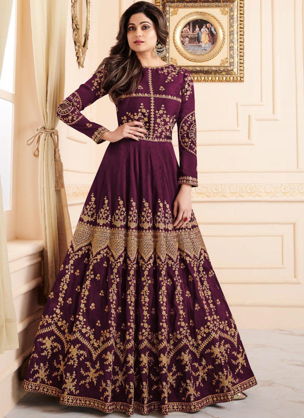 Shamita Shetty Purple Embroidered Floor Length Anarkali Suit