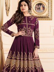 Shamita Shetty Purple Embroidered Floor Length Anarkali Suit