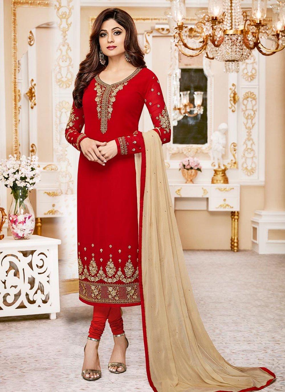 Shamita Shetty Red Churidar Designer Suit