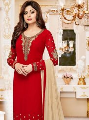 Shamita Shetty Red Churidar Designer Suit