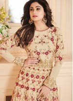 Shamita Shetty Resham Beige Floor Length Anarkali Suit