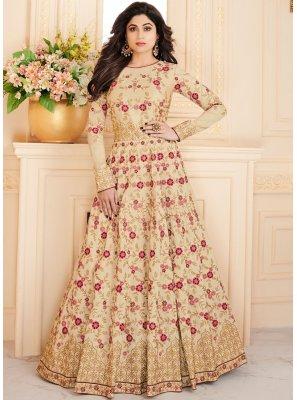 Shamita Shetty Resham Beige Floor Length Anarkali Suit