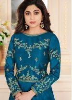 Shamita Shetty Resham Blue Malbari Silk  Floor Length Anarkali Suit