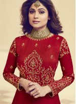 Shamita Shetty Resham Floor Length Anarkali Suit