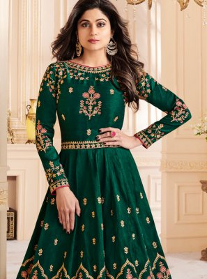 Shamita Shetty Resham Green Malbari Silk  Floor Length Anarkali Suit